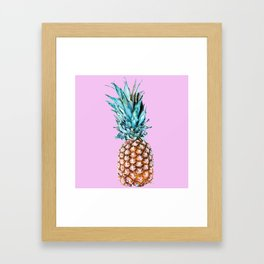 Pineapple On A Pink Background #decor #society6 #homedecor Framed Art Print