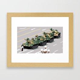 Pixelated Tank Man Framed Art Print