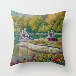 Lake and Gardens with Statuary Landscape by Nikolay Bogdanov-Belsky Throw Pillow