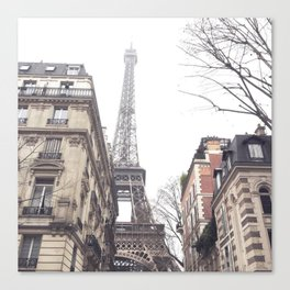 Paris streets, Eiffel tower, city skyline, industrial fine art photo, shabby chic Canvas Print