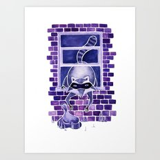 Randell the Crooked Raccoon! Art Print