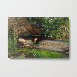 Ophelia Brick Wall Painting by Sir John Everett Millais Metal Print