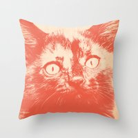 kitten Throw Pillows featuring KITTEN by Allyson Johnson
