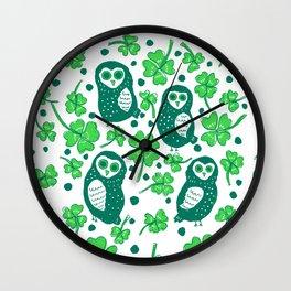 Shamrock Owls Wall Clock
