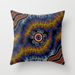 The Heart of Fire - Authentic Aboriginal Art Throw Pillow