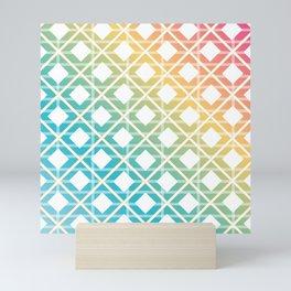 geometric grunge striped colorful lines Mini Art Print
