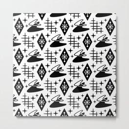 Mid Century Modern Space age Boomerang Pattern 335 Black and White Metal Print