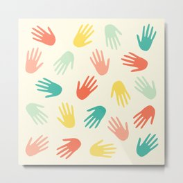 Hands Pattern pink Metal Print