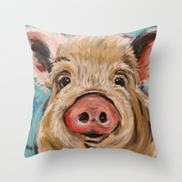 Pig Painting, Colorful Pig Throw Pillow