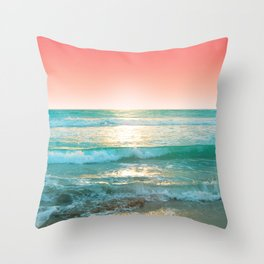 Aqua and Coral, 1 Throw Pillow