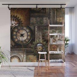 Steampunk, wonderful clockwork with gears Wall Mural