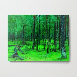 Green enchanted forest, magical nature, beautiful view, calm place, rich colors wild nature painting Metal Print