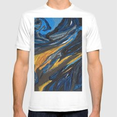 Starry Night White MEDIUM Mens Fitted Tee