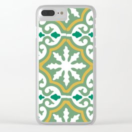 Moroccan Mosaic Tile Pattern Green Yellow Clear iPhone Case