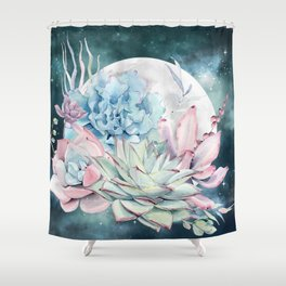 Beautiful Succulents Full Moon Teal Pink Shower Curtain