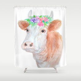 Flower Crown Cow Shower Curtain