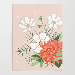 Cosmos and Dahlia on Pink Poster