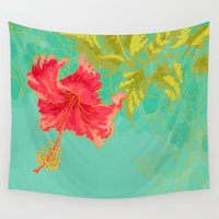 hibiscus Wall Tapestries featuring Hibiscus by Eugeniam