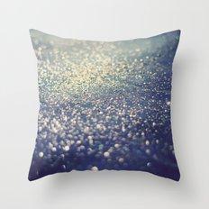 Glitter on Blue Throw Pillow