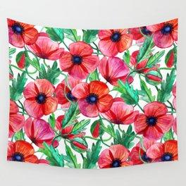 Plenty of Poppies - white Wall Tapestry