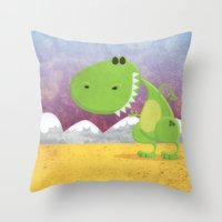 dinosaur Throw Pillows featuring dinosaur by Daniel Castrogiovanni
