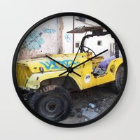 israel Wall Clocks featuring 4x4 in Tel Aviv, Israel by Philippe Gerber
