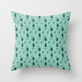 country blue flowers pattern Throw Pillow