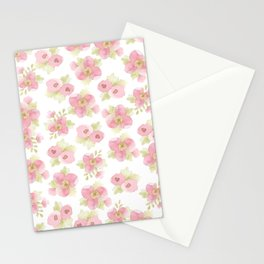 Hand painted blush pink pastel watercolor floral Stationery Cards
