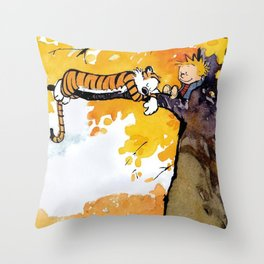 Calvin and Hobbes on the Tree huge Throw Pillow