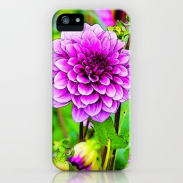 LILAC PURPLE DAHLIA FLOWERS & BUDS iPhone Case