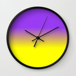 Neon Purple and Neon Yellow Ombré  Shade Color Fade Wall Clock
