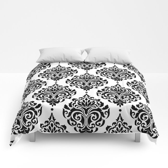 Black And White Damask Comforters By Seafoam12