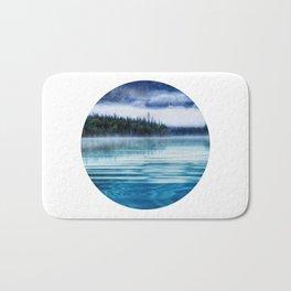Blue Tranquil Lake Scenery Circle Bath Mat