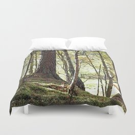 Leaves, Grass and gate lead to Walt Whitman of course Duvet Cover