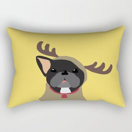 Black Frenchie in Reindeer Costume  Rectangular Pillow