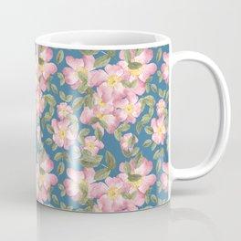 Vintage wild rose pattern with teal base Coffee Mug