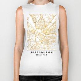PITTSBURGH PENNSYLVANIA CITY STREET MAP ART Biker Tank