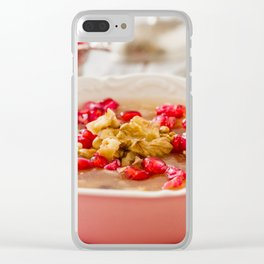 Turkish dessert Ashura, Noah's pudding, with pomegranate seeds and walnuts Clear iPhone Case