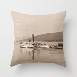 The Horicon I Steamboat (sepia) Throw Pillow