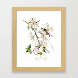 Dogwood Flowers and White Throated Sparrow Framed Art Print