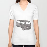 volkswagon V-neck T-shirts featuring Tangled VW Bus - side view by Cherry Creative Designs