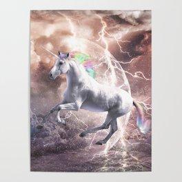 Epic Lightning Unicorn Poster
