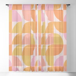 Mid Century Mod Geometry in Pink and Orange Sheer Curtain