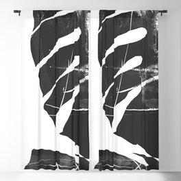 Monstera Leaf Black Blackout Curtain
