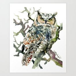 Great Horned Owl in Woods, woodland owl Art Print