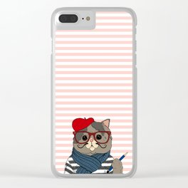 French Cat Clear iPhone Case