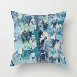 015.2: a bright contemporary abstract design in blues pinks and yellow by Alyssa Hamilton Art  Throw Pillow