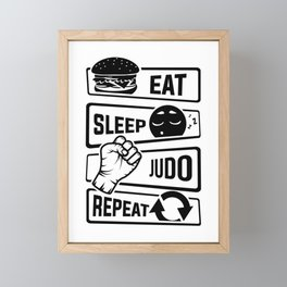 Eat Sleep Judo Repeat - Martial Arts Defence Framed Mini Art Print