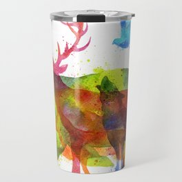 Colorful watercolors wild animals overprint Travel Mug