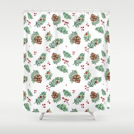 Christmas in the Woods - Watercolor berries and pinecones Shower Curtain